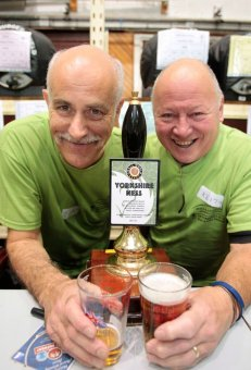 Oktoberfest: Tony Shaw and Keith Hinchliffe pictured with 'Yorkshire Ness' by Small World Beers of Shelley.